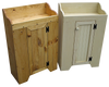 Shown in Butternut Stain and Old Cream with Beadboard doors