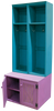 Two Short Lockers in Old Turquoise on top of one #7056 Double Deep Locker Bench in Old Plum