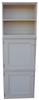 Three cabinets stacked and shown in Old Cottage White.  (Two units with optional doors, and top unit with no door.)
