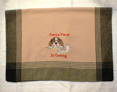 Dish Towel - Santa Paws Is Coming (Green/tan)