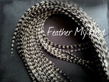 Hair Feather Extensions -Premium Grade Euro Feathers - Select Your Length - Natural Grizzly- Striped Black and white
