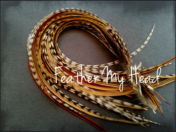 Hair Feather Extensions -Premium Grade Euro Feathers - Select Your Length - Natural Cree
