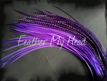 Feather Hair Extension - 10 Piece 9 - 12 inches Long (23-30 cm) Grizzly Stripe / Solid Mix - Electric Purple - Brights