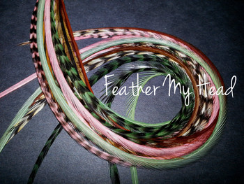 Feather Hair Extensions - 16 Piece - Green Pink Brown - Just Peachy