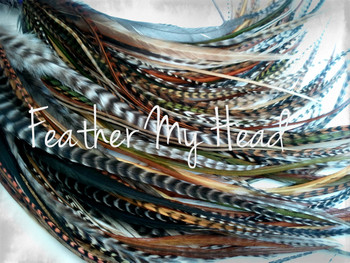 "Feather Hair Extensions - 16 Pc Mix Of Thin Fashion Euro Feathers - Long 9"" -12"" (23-30cm) Browns Greens Golds - Feather Junkie Collection - Wild Thing - Optional Do It Yourself Kit"