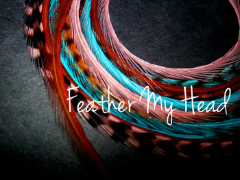 "Feather Hair Extensions - 16 Pc Mix Of Thin Fashion Euro Feathers - Long 9"" -12"" (23-30cm) Coral - Brown - Turquoise - Feather Junkie Collection - Sante Fe - Optional Do It Yourself Kit"