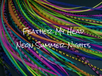 "Feather Hair Extensions - 16 Pc Mix Thin Fashion Euro Feathers - Long Feathers 9"" -12"" (23-30cm) Pink - Purple - Bue - Red - Yellow - Green Orange - Life's A Beach Collection - Neon Nights - Optional Do It Yourself Kit"