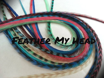"Feather Hair Extensions - 16 Pc Mix Of Thin Fashion Euro Feathers - Long 9"" -12"" (23-30cm) Blue Brown Pink Green White - Boho Collection - Boho Love - Optional Do It Yourself Kit"