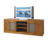 CAMEO (TVGSB2000) 2 DOOR STRAIGHT BASE LOWLINE TV UNIT WITH 2 DVD PULLOUTS AND TRANSLUCENT SAFETY GLASS - TASSIE OAK - 2000(W) - ASSORTED COLOURS AVAILABLE