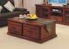 RUSTIC COFFEE TABLE WITH 2 DRAWERS - 450(H) X 1200(W) X 700(D)