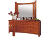 SEATTLE 7 DRAWER DRESSING TABLE AND MIRROR - GOLDEN OAK (AL1)