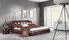 QUEEN FOLIGNO LEATHERETTE BED (A9307) - ASSORTED COLOURS - (WITH OPTIONAL UPGRADE FOR GAS LIFT UNDERBED STORAGE)