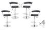 CONIX (BARS-22BK)   4  x  PIECE OF HALF MOON  KITCHEN BAR STOOLS - SEAT: 860 - 1090(H) - BLACK