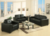 MANHATTAN 3  SEATER + 2 SEATER + 1 SEATER LEATHERETTE LOUNGE SUITE - BLACK