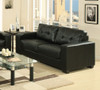 MANHATTAN 3  SEATER + 1 SEATER + 1 SEATER LEATHERETTE LOUNGE SUITE - BLACK