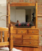 AVONDALE 7 DRAWER DRESSER WITH MIRROR  -  795(H) X 1400(W) - CHESTNUT OR WALNUT