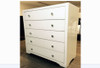 BOULEVARDE WHITE  GLASS 5 DRAWER TALLBOY - WHITE