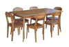 RETRO 7 PIECE DINING SETTING   WITH 1500(L) x 900(W)  TABLE - LIGHT OAK
