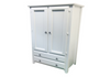 MANILLA 2 DOOR/2 DRAWER WARDROBE WITH SMOOTH DOORS AND SIDES -  1900(H) X 960(W)  - WHITE, ANTIQUE WHITE, WHITEWASH & BRUSHED COLOUR OPTIONS