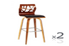 SKRIM (VJY-1709) BAR CHAIR (SET OF 2)  BARSTOOL SEAT - 680 - BLACK / WALNUT