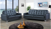 MOOHA   3  + 2 SEATER FULL LEATHER  LOUNGE SUITE - (MODEL- 14-5-23-25-15-18-11)- B LACK