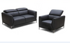 AMEN    2  +   1 SEATER   FULL LEATHER  LOUNGE SUITE  - - (MODEL13-9-12-1-14) GREY