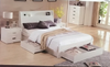 KING  MOCALE  BED WITH  SIDES /  BEDEND DRAWER AND LED LIGHT  (MODEL3-8-9-3-1-7-15) - HIGH GLOSS  WHITE