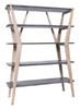 DWAYNE SHELF UNIT - CEMENT WITH OAK