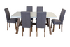 COPACABANA 7 PIECE DINING SETTING WITH  ASHTON CHAIR 1600(W) x 900(D) - WHITE /  LIGHT GREY