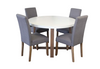 COPACABANA 5 PIECE ROUND DINING SETTING WITH ASHTON CHAIRS - 1200(D) - LIGHT GREY