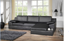 BARBARA LEATHERETTE 2 SEATER + LHS/RHS CHAISE  -  BLACK