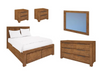 ALPINE  KING 5 PIECE DRESSER BEDROOM SUITE   - GOLDEN WALNUT