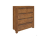 ALPINE TALLBOY CHEST  TABLE WITH 5 DRAWERS - GOLDEN WALNUT