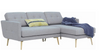 STREAM 3 SEATER FABRIC UPHOLSTERED SOFA WITH  RIGHT CHAISE - TIMBERWOLF