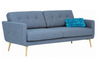 STREAM 3 SEATER FABRIC UPHOLSTERED SOFA  - SEAL GREY