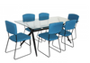 ZETLAND 7 PIECE DINING SETTINGS WITH HUNT  CHAIRS -1600(L) X 900(W) TABLE - BLUE