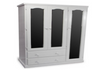 URBAN FLAT TOP UTILITY WARDROBE WITH 2 DRAWERS & 3 MIRRORED DOORS - 1800(H) X 1300(W) - PAINTED COLOURS