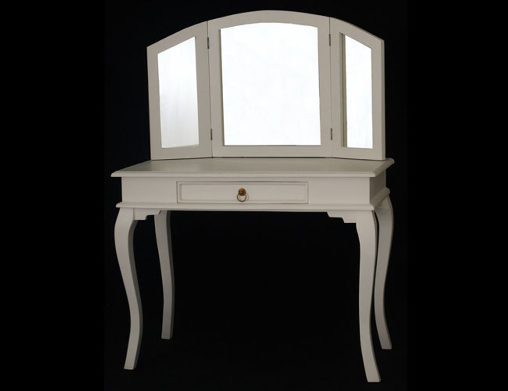 QUEEN ANN 1 DRAWER LARGE DRESSING TABLE - 1370(H) X 1000(W) - WHITE