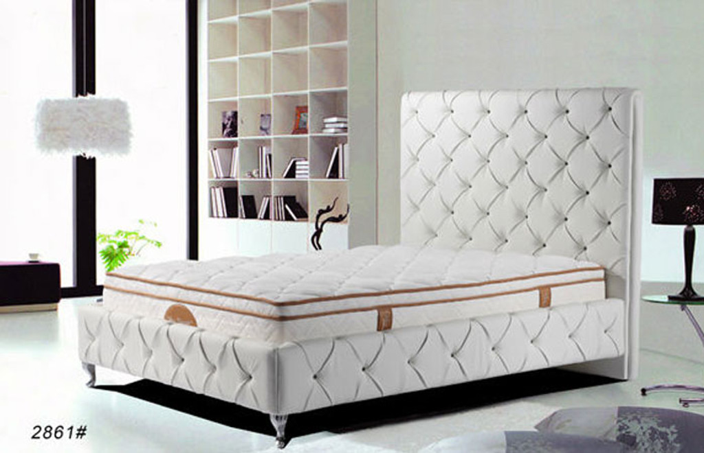 QUEEN (2861#) LEATHERETTE BED - ASSORTED COLOURS AVAILABLE