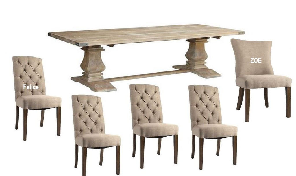 UTAH (UT-002) 9 PIECE DINING SETTING WITH FELICE  OR ZOE CHAIRS - 2300(W) X 1000(D) - HONEY WASH