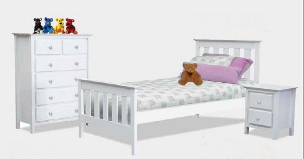 NICKY KING SINGLE 3 PIECE BEDROOM SUITE - WHITE