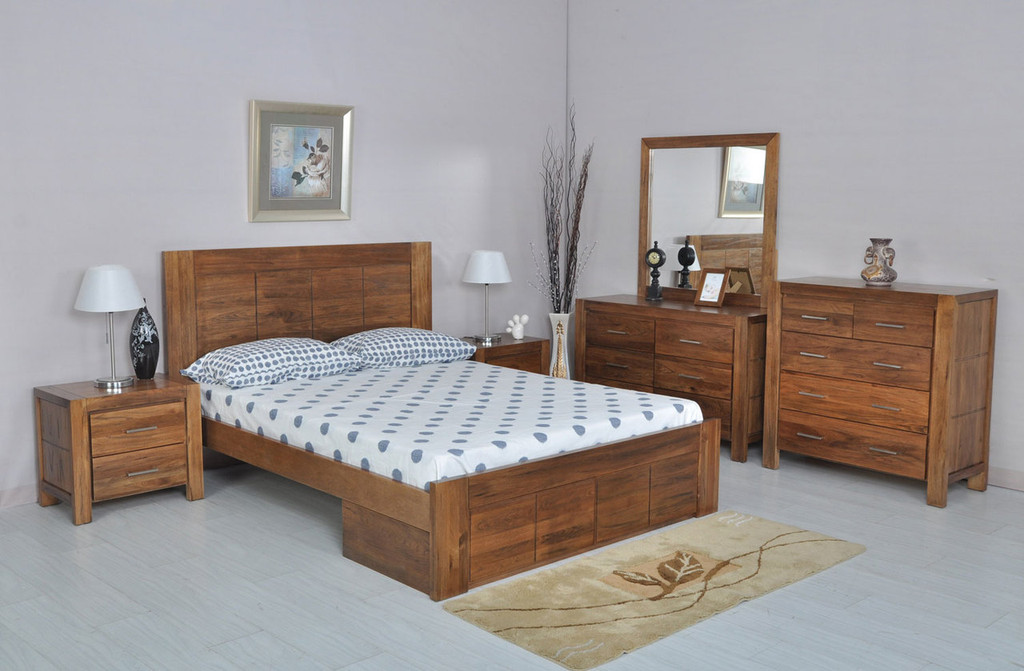 CUBA DOUBLE OR QUEEN 6 PIECE BEDROOM SUITE WITH UNDERBED STORAGE DRAWERS - DRIFTWOOD EARTH
