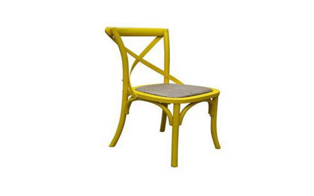 BARISTA (VBR-011-Y) DINING CHAIR WITH RATTAN SEAT - YELLOW