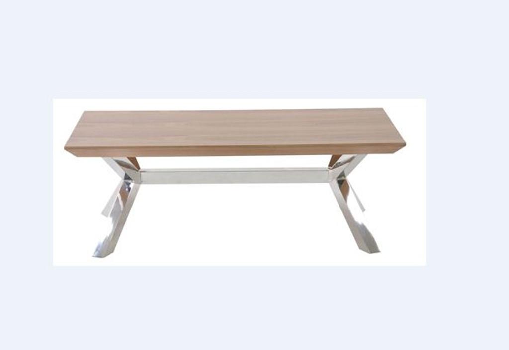 NORDIC    COFFEE TABLE  -    430(H) X 1200(W) X 600(D)- STAINLESS FRAME / WALNUT VENEER TOP