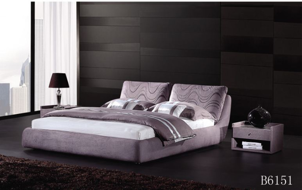 QUEEN  PHAROAH FABRIC BED (B6151) - ASSORTED COLOURS