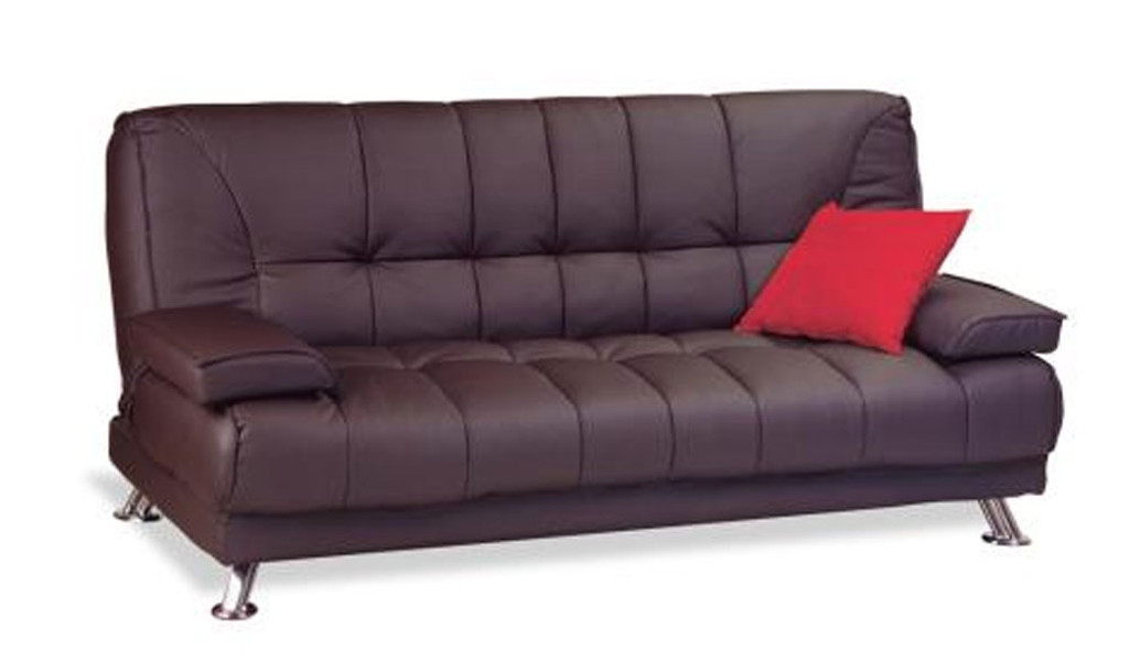 ROBYN LEATHERETTE CLICK CLACK SOFA BED - CHOCOLATE