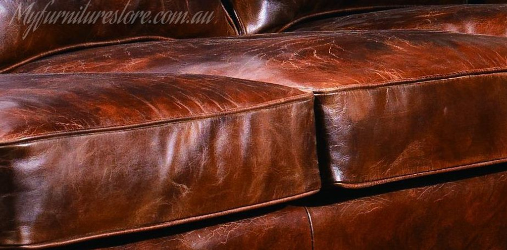 SHALOM   3S + 2S +1S   FULL LEATHER VINTAGE LOUNGE SUITE  -ASSORTED COLOURS