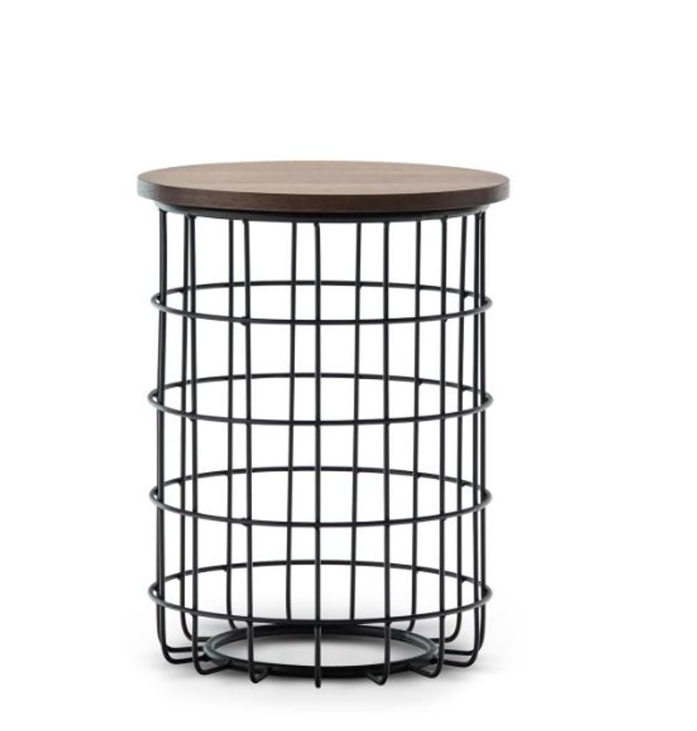 GABRIELA ROUND SIDE  TABLE   - WALNUT  / BLACK