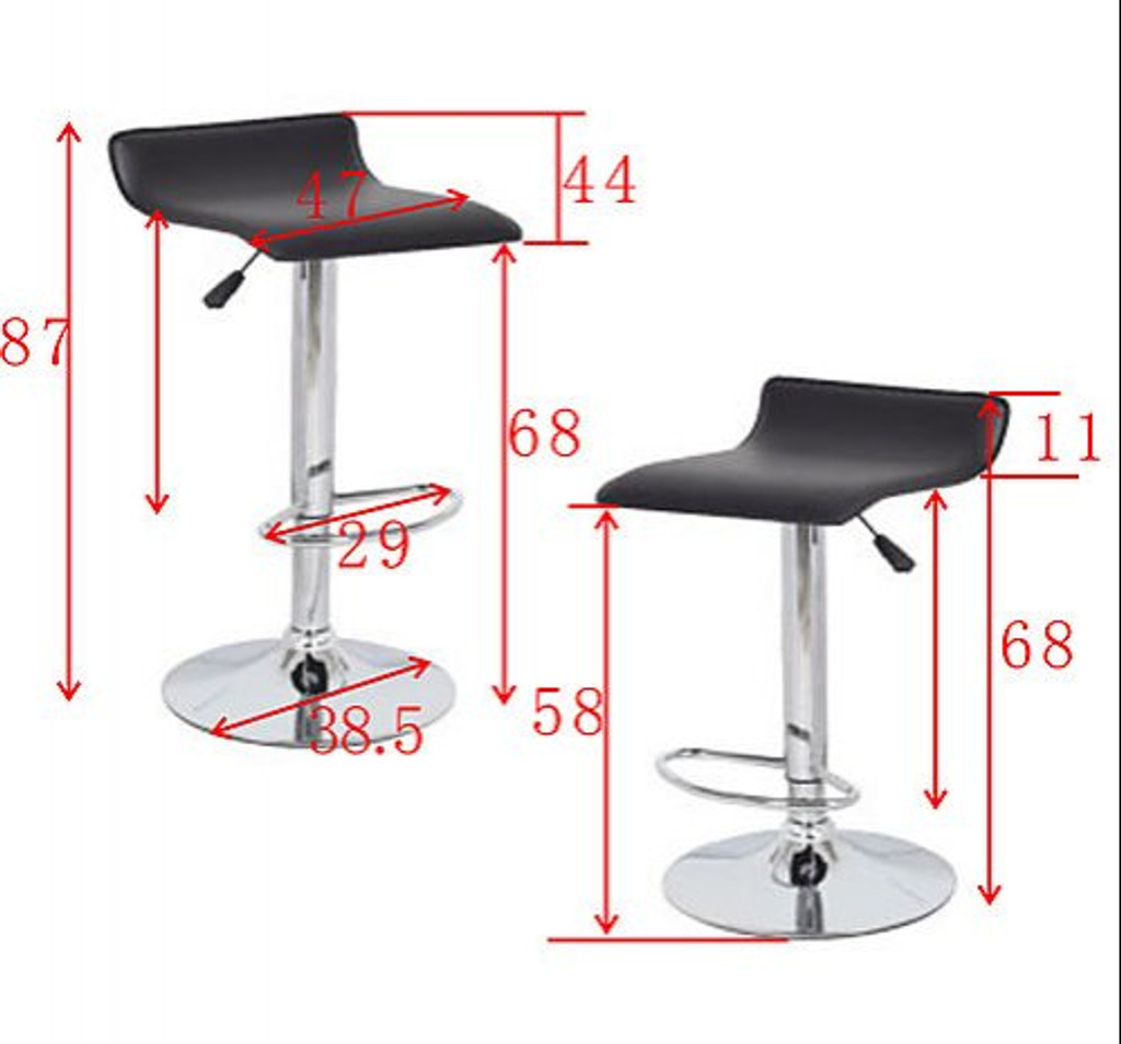 DIAZZY (BARS-51BR-ONE)  SET OF 2    PVC CONTEMPORARY S-CURVE KITCHEN BAR STOOLS - SEAT: 660 - 870(H) - BROWN  OR BLACK
