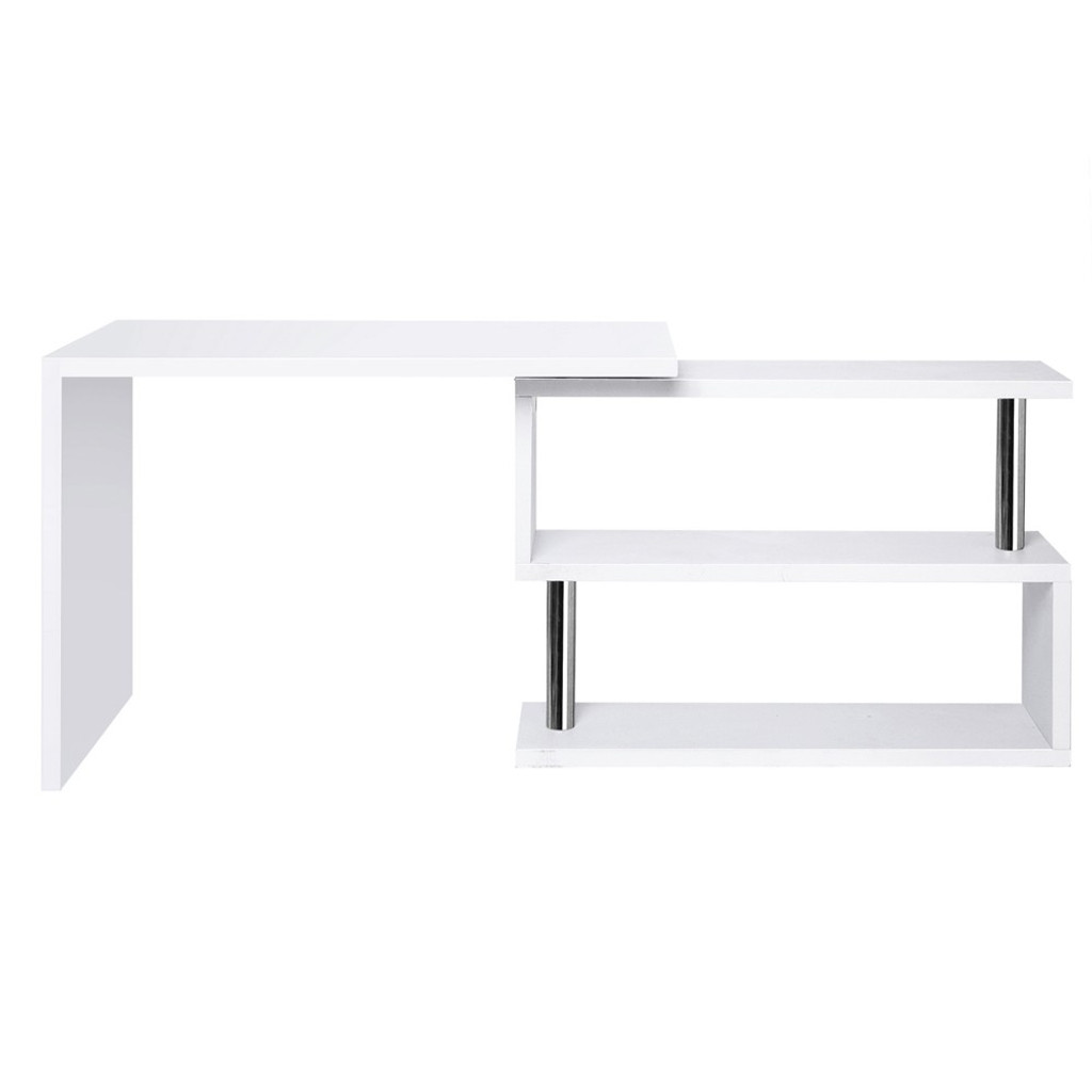 MAYA OFFICE COMPUTER  CORNER DESK DESK TABLE WITH BOOKSHELF  (DESK-SWIVEL-352WH-AB) - WHITE